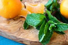 Mandarines et menthe Image libre de droits