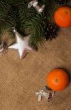 Mandarines, Fir-cones, Christmas decorations and fur-tree branch Stock Images