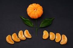 Mandarines fraîches avec des feuilles sous forme de fleur sur le fond foncé images libres de droits