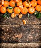 Mandarines fraîches avec les lames vertes Photographie stock