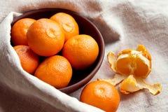 Mandarines fraîches dans une cuvette Image stock