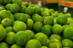 Mandarines frescos verdes en un mercado orgánico local de la granja de la isla tropical de Bali, Indonesia Fondo del mandarín Imágenes de archivo libres de regalías