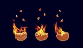 Mandarines llameantes Imagen de archivo libre de regalías