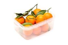 Mandarines mûres dans le conteneur photos stock