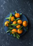 Mandarines mûres fraîches sur le fond bleu, vue supérieure L'espace libre Images libres de droits