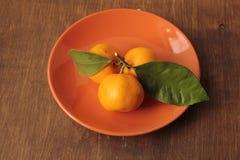 Mandarines met groene bladeren op een kleischotel Stock Fotografie