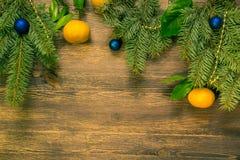 Mandarines- och julträd med blåa bollar royaltyfri bild