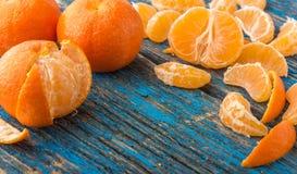 Mandarines op de lijst Stock Foto's