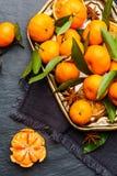 Mandarines sélectionnées fraîches sur une table foncée Vue supérieure photo libre de droits