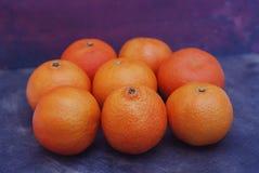 Mandarines sur le fond bleu-foncé Calibre de bannière d'affiche de carte de voeux de nouvelle année de Noël Photographie stock libre de droits