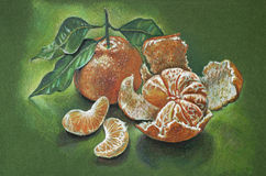 Mandarines sur un fond vert Photographie stock