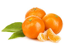 Mandarines With Leaves Close-up. Royalty Free Stock Images