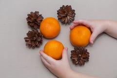 Mandarines y topetones en las manos de una composición de la Navidad del niño imagen de archivo