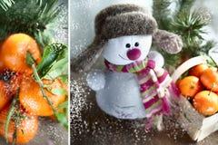 Mandarines y un muñeco de nieve en un sombrero y una bufanda Imagenes de archivo