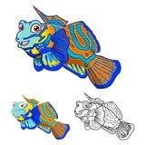 Mandarinfish-Zeichentrickfilm-Figur der hohen Qualität umfassen flaches Design und Linie Art Version Stockfoto
