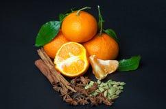 Mandarini con le spezie sul nero Fotografia Stock Libera da Diritti