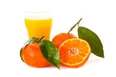 Mandarini con un vetro di succo immagine stock libera da diritti