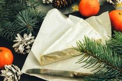 Mandarini del Brie e rami dell'abete Squisitezze per i feas Fotografie Stock