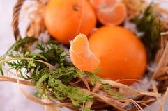 Mandarini di Natale in un canestro su natale Immagine Stock Libera da Diritti