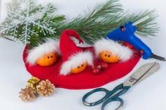 Mandarini divertenti di Natale Immagini Stock Libere da Diritti