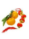 Mandarini e nuovo anno cinese latern Immagine Stock Libera da Diritti