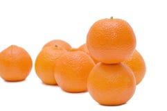 Mandarini freschi isolati sopra bianco Fotografia Stock Libera da Diritti