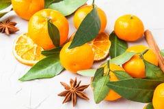 Mandarini selezionati freschi su una tavola di marmo Immagini Stock Libere da Diritti