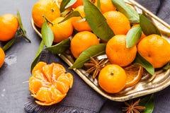 Mandarini selezionati freschi su una tavola scura Vista superiore Immagini Stock Libere da Diritti