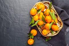 Mandarini selezionati freschi su una tavola scura Vista superiore Immagine Stock Libera da Diritti
