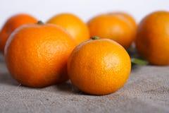 Mandarini su tela di canapa Immagini Stock Libere da Diritti