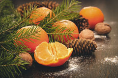 Mandarini su un fondo scuro Fotografia Stock Libera da Diritti