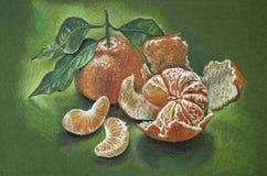 Mandarini su un fondo verde Fotografia Stock