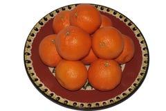 Mandarini su un piatto ceramico Fotografia Stock