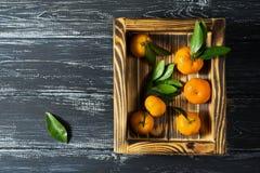 Mandarini su un vassoio di legno, vista superiore Frutti succosi sulla tavola di legno Fotografia Stock