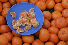 Mandarini sul mercato Immagini Stock Libere da Diritti