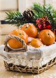 Mandarini in un canestro fotografie stock libere da diritti