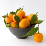 Mandarini in una ciotola dell'argilla Immagini Stock Libere da Diritti