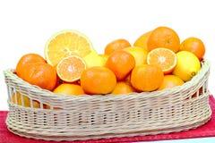 Mandarinkorg på vit bakgrund Royaltyfri Bild