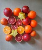 Mandarino, arancia e carambola Fotografia Stock