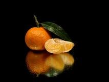 Mandarino con i fogli Fotografia Stock