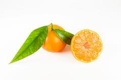 Mandarino con i fogli Isolato Fotografia Stock Libera da Diritti