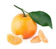 mandarino con una foglia ed i segmenti Fotografie Stock