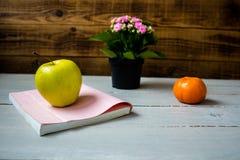 Mandarino e libro di Apple Immagini Stock Libere da Diritti
