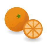 Mandarino e metà su un fondo bianco Fotografia Stock Libera da Diritti