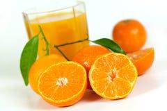 Mandarino fresco con i fogli, fine in su immagine stock libera da diritti