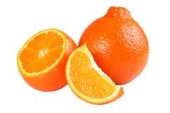 Mandarino o mandarino arancio con le fette isolate su fondo bianco Fotografia Stock Libera da Diritti