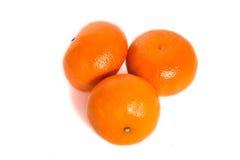 Mandarins. Three mandarins isolated on white background Royalty Free Stock Photos