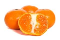 Mandarins. Four mandarins isolated on white background royalty free stock images