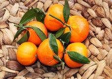 Mandarins. Mandarins in the  basket  braided Royalty Free Stock Images