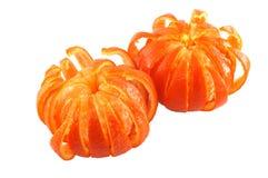 Mandarins. Peeled like flowers isolated on white Royalty Free Stock Photo